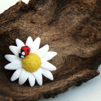 Ladybug on Daisy Handmade Polymer Clay Adjustable by GabiAndAsia