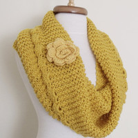 Yellow Cowl Neckwarmer With Flower Brooch-Ready For Shipping-Black Friday and Cyber Monday-Christmas gift