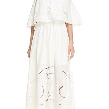 Tibi 'Carmen' Off the Shoulder Cotton & Silk Maxi Dress | Nordstrom
