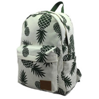Women's Large Lightweight Canvas Pineapple Print Daypack Backpack Travel Bag
