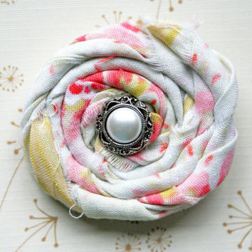 Pink, Cream, Green Cotton Rosette Clip with Vintage Pearl/ Baby/ Child/ Adult