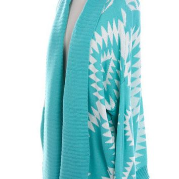 Turquoise Aztec Tribal Cardigan Sweater