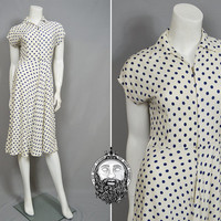 Vintage CC41 1940s Dress White and Blue Polka Dot Linen Dress Cap Sleeve 40s Cream Dress Garden Party Navy Blue Spotted Dress Blue Spots WW2