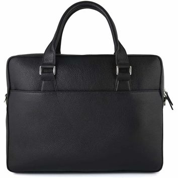 Grained Calf Leather Briefcase Black
