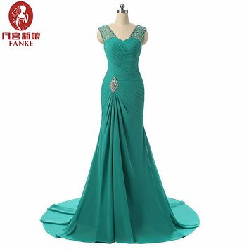 Backless 2017 Evening Dresses Mermaid V-neck Cap Sleeves Green Beaded Chiffon Elegant Long Evening Gown Prom Dress Prom Gown