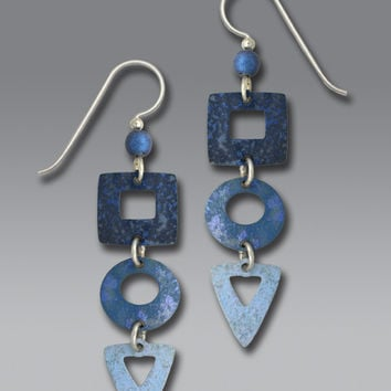 Adajio Earrings - Three-Part Denim Blues with Open Square/Circle/Triangle