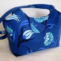 Etsy Transaction -        Large Tote in Blue Midnight Floral Print