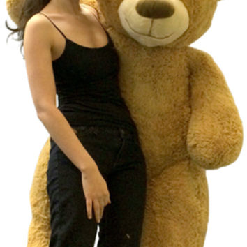 Big Plush Giant Valentine's Day Teddy Bear Five Feet Tall Tan Color Soft Smiling Big Teddybear