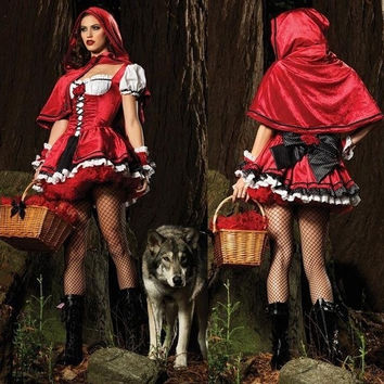 2014 New Fantasy Christmas Costumes Little Red Riding Hood/Evil Queen Cosplay Halloween Queen witch Costume (One size) = 1830121796
