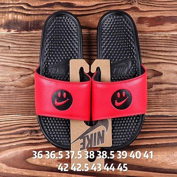 NIKE Fashion Women Men Casual Smiling Face Flats Slipper Sandals Shoes Red