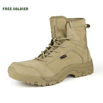 FREE SOLDIER outdoor tactical boots hiking climbing shoes men shoes breathable lightwe