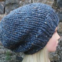 Hand Knit Hat Women's hat- Rustic Mega Chunky with wool- slouchy hat