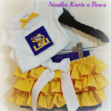 Girls Louisiana State University Cheerleader Outfit, Baby Girls LSU Tigers Football Game Day Ready Outfit, Baseball