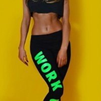 Black Mint Green Work Out Bottom Stretch Yoga Pant Leggings
