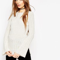 ASOS Knitted Tunic In Rib With Flared Sleeve