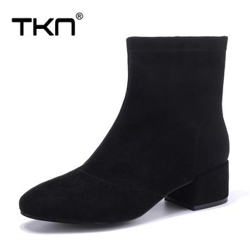 TKN Winter Women Ankle Boots Fashion Faux Suede Leather Warm Plush Square Heel Wedge Boots Platform Snow Boots Shoes Woman A8501