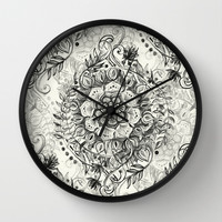 Messy Boho Floral in Charcoal and Cream Wall Clock by Micklyn