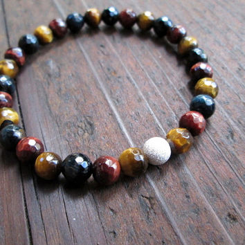 Tiger Eye & Sterling Silver Bracelet Faceted Bead Bracelet Gemstone Bracelet Elastic Boho Bracelet Colorful Minimalist Jewelry