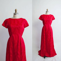 Vintage 1960s Red Satin Gown / 1960s Party by GingerRootVintage