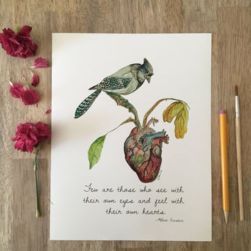 Few are those who see with their own eyes, Illustration Quote, Albert Einstein quotes, blue jay, Birds, Motivational Quotes, inspirational,