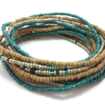 Seed bead wrap stretch bracelets, stacking, beaded, boho anklet, bohemian, stretchy stackable multi strand, khaki brown teal silver blue