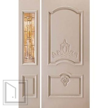 jeld-wen A412 Carved Paint Surface Panel Door and Sidelights Khaki Finish