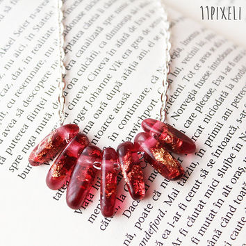 Dark Red Transparent Resin necklace - Resin beads - Metallic Golden Flakes - Modern Necklace  Gift for her - Anniversary Gift - Unique