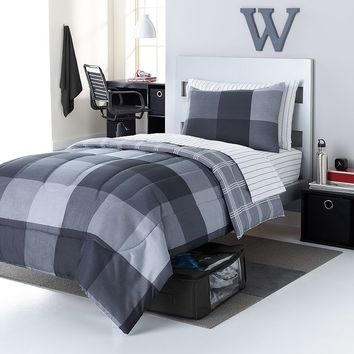 Simple by Design Richardson Buffalo Check 8-pc. Reversible Dorm Bed Set - XL Twin (Black)