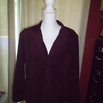 WOMAN'S FASHION BUG STRETCH BURGUNDY BLAZER SIZE LARGE;COLLARED;2 BUTTON FRONT