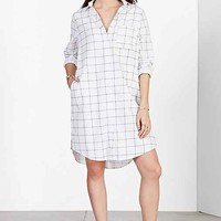 BDG Oversized Linen Button-Down Shirt- Blue