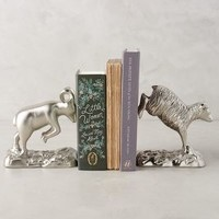 Roaming Hooves Bookends by Anthropologie in Shiny Silver Size: Set Of 2 Bookends