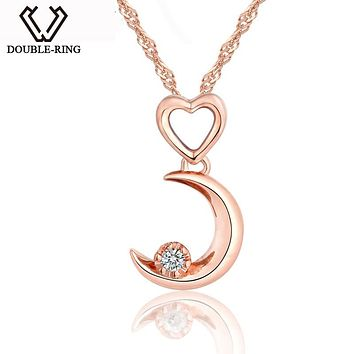 DOUBLE-R Moon Shape 0.03ct Diamond Necklaces Pendants Women 925 Sterling Silver Anniversary Rose Gold Heart Jewelry Customized