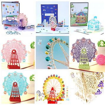 3D Pop up Invitations Greeting Gift Cards Blank Postcards Birthday Thanksgiving Gift Handmade Christmas Thank You Customized