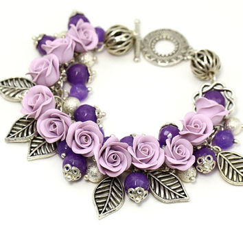 "Floral Bracelet ""Romance"" Lilac Purple Bracelet with Roses Bridal Wedding Violet Silver Tone Gift for Wedding Floral Jewelry Romantic Roses"