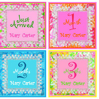 Personalized Monthly Onesuit Stickers (Preppy Girls 1)-Includes Newborn, Large 12 Month, and Bonus Stickers-Baby Month Stickers