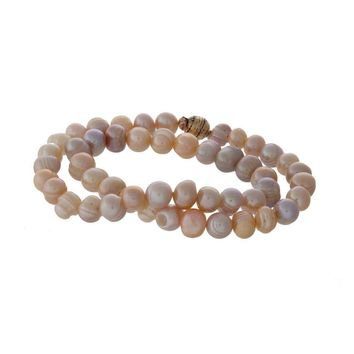 Double Wrap Peach Cultured Freshwater Pearl Magnetic Stretch Bracelet