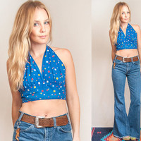 70s Royal Blue Geometric Halter Top - One Size Fits Most | Hippie Boho Chic Retro Crop Top | Festival Bikini Sexy 50s Pinup Girl Tank Top
