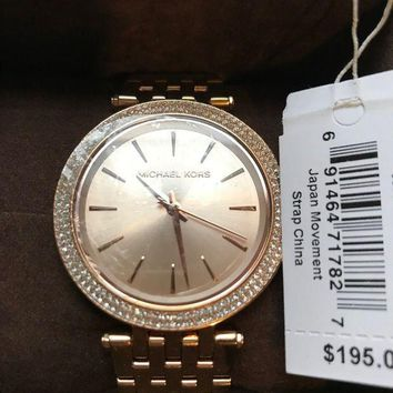 CREYIX5 New Michael Kors Rose Gold Mini Crystal Darci Dial MK5423 Wrist Watch for Women