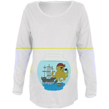 VONEG5F Fish Bowl Cute Pirate Octopus Maternity Soft Long Sleeve T Shirt