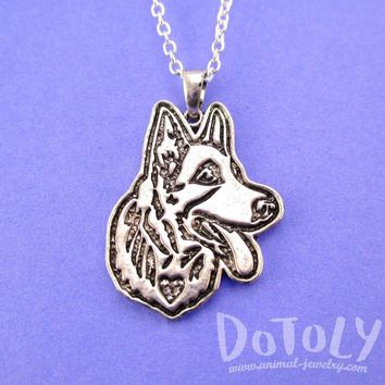 German Shepherd Puppy Dog Portrait Pendant Necklace in Silver | Animal Jewelry