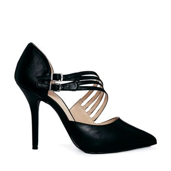 Faith Channing Asymmetric Black Pointed Heeled Shoes