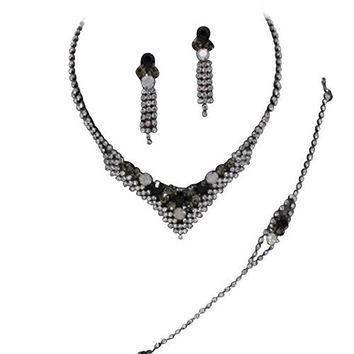 Sparkly V Neck 3 Piece Black Gray BRIDAL NECKLACE, EARRING, and BRACELET Silver Tone DE6