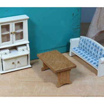 1:16 Scale Dollhouse Furniture • Wooden Cabinet Table and Sofa • Vintage Wooden Minature Doll House Furniture
