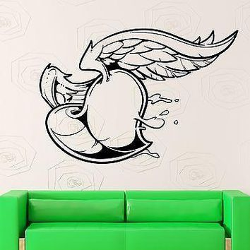 Wall Sticker Vinyl Decal Heart with Wings Love Romantic Bedroom Decor Unique Gift (ig1844)