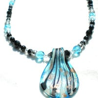 Turquoise and Black Swarovski Pearl and Crystal Salacia Necklace