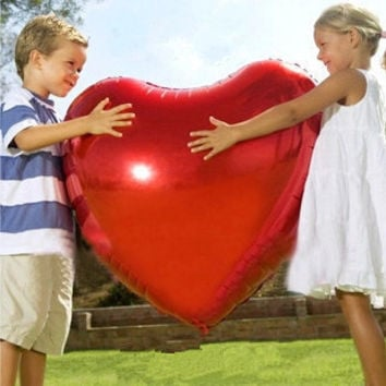 2016 New Supersize 75cm red heart shape foil air balloons wedding party say love decorations marriage ballon supplies