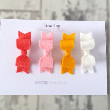 Fruit salad hair bows - coral pink, baby pink, mustard yellow and white mini felt hair clips