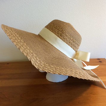 "Khaki Floppy Straw Sun Summer Wide Brim Foldable Hat with Handmade Bow of your choice - Cream, Orange, Purple or Light Pink 21"" - 23"" Head"