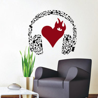 Wall Decals Music Decal Vinyl Sticker Headphones Heart Notes Decor Home Bedroom Hall Studio Interior Design Art Murals MN409