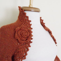 Brown Bridal Shrug With Flower Brooch - Ready for shipping